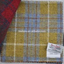 With Harris Tweed label yellow check 100% virgin wool fabric