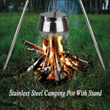 7QT Stainless steel camping pot with stand