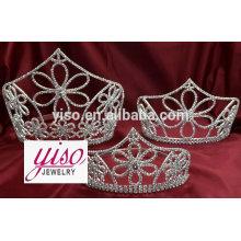 Corona de encargo nupcial del rhinestone del desfile de la princesa de la boda