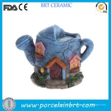 Casa de hadas en miniatura de resina con forma de tetera única