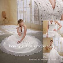 Astergarden à la mode Halter rez-de-longueur perle robe de bal Robe de mariée blancheAS016