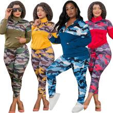 C7180 Womens Two Piece Tracksuits Long Sleeve Camo Print Fall Two Pieces Plus Size Jogger Tracksuit Set Women Pants Set