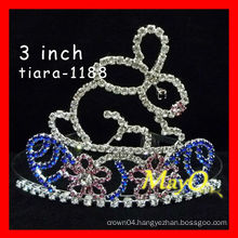 Hot sale cute crystal rabbit pageant crown,sizes available
