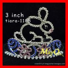Coroa de cristal bonito da representação do coelho da venda quente, tamanhos disponíveis