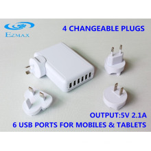 Carregador universal 6 em 1 USB (4 plugues) com CE