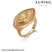 14423 Wholesale simply design ladies jewelry eye shaped 18k gold plated finger ring
