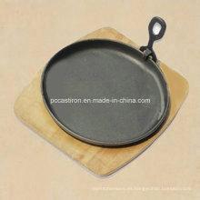 Sizzler Pan de hierro fundido redondo con mango extraíble