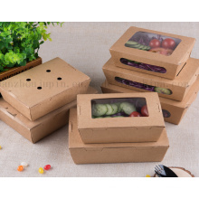 OEM Recyclable Disposable Eco-Friend Kraft Paper Lunch Box Food Container