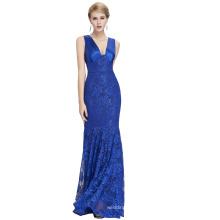 Starzz 2016 Sleeveless V-neck V-Back Elegant Blue Lace Mermaid Evening Dress ST000084-2
