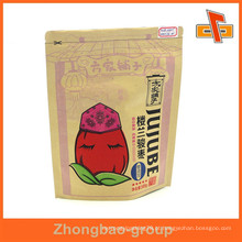 À prova de umidade zipper personalizado top pé kraft saco de papel marrom para o alimento com o seu logotipo