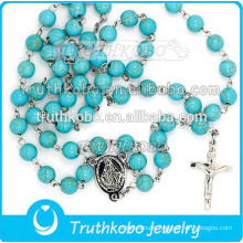 High quality religious jewelry stainless steel Mother Mary and Jesus cross necklace with 8mm rosary beads TKB-N0153