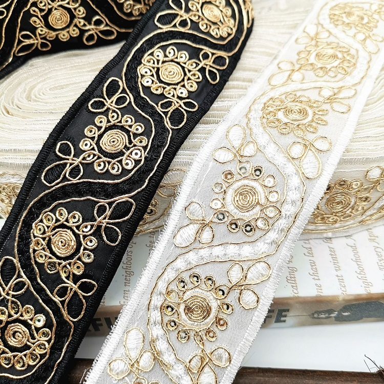 Gold Ribbon Embroidery Flower