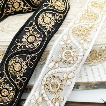 High Quality Gold Ribbon embroidery gem flower webbing
