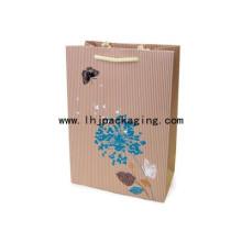 Saco de papel personalizado com textura de gravura e alça de corda