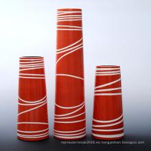 Color naranja forma cilíndrica pintado jarrón con material de cerámica (PA02A)