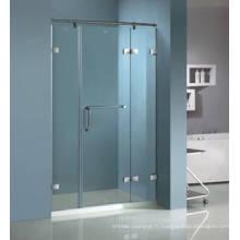 Porte de douche en verre trempé à charnière sans cadre Hg-432