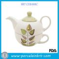 Wholesale White Leaf Logo Ceramic Cheap Teapot