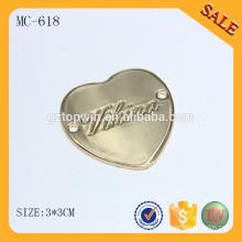 MC618 Logotipo de metal hecho a medida en forma de corazón para la ropa