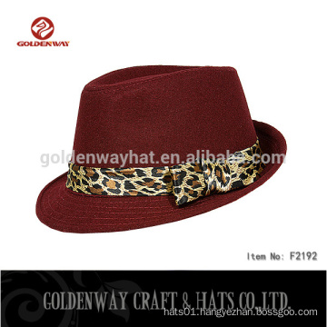 2015 Wine Red women ladies fedora hat with Leopard Decoration