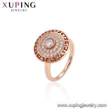 15573xuping engagement rose gold plated color diamond elegant shape design ring women