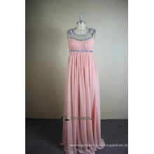 ЭД реальный образец Свадебные a-линия совок шеи бисером кристаллы Плиссированные полная Длина шифон вечернее платье
