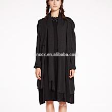 pure black women cashmere dress