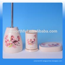 Fashionable 3 pcs of ceramic bathroom accessory set,tooth mug,ceramic soap holder,bathroom trash
