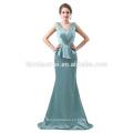 Vestido de noche largo con apliques de encaje elegante Vestido de noche largo con tul de color azul 2018