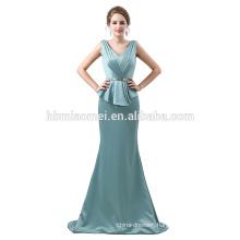 Elegant Lace Appliqued Long Sleeve Top A Line Tulle Blue Long Evening Dress 2018