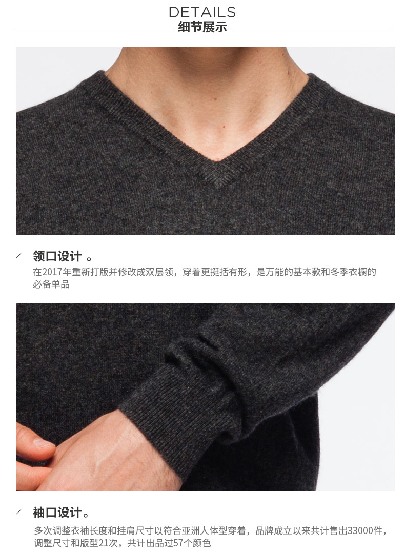Men's cashmere V neck sweater details