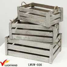 Gray Antique Flower Crate Wooden Planter with Handle