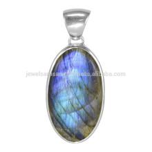 Кричащие Лабрадорит драгоценный камень с 925 стерлингового серебра простой дизайн Кулон для подарка