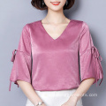 Fashion Cutting V-neck Warna Solid Silk Sweet Top