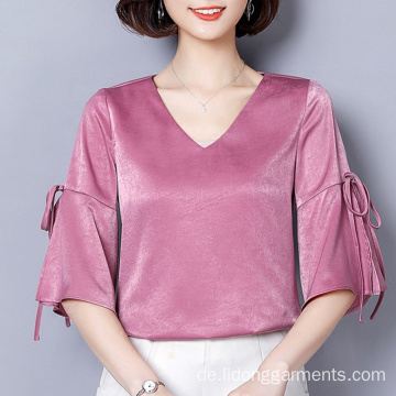Fashion Cutting V-Ausschnitt Solid Color Silk Sweet Top