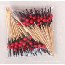 Black Head with Read Bead Bamboo Stick