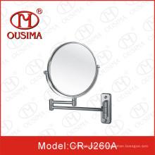 Espejo de maquillaje redondo de pliegue montado en la pared usado en el cuarto de ducha