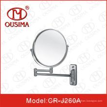 Parede montada dobra espelho de maquiagem redonda usado no chuveiro