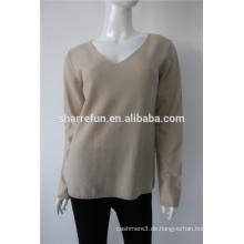 162-96 Frauen Flachstrick-V-Ausschnitt Reverse Cashmere-Pullover