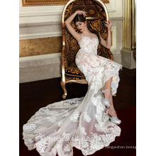 ZM16022 Illusion Lace Appliqued Big Mermaid Tail Wedding Dress for Bridal Wedding Very Sexy Wedding Dresses