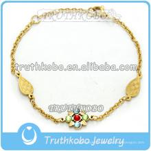 Bracelet de charme européen strass chanceux Bracelet belle fleur pour les femmes