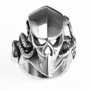 Animal mask crow skull rings for men