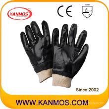 Черные ПВХ погруженные промышленные ручные защитные рабочие перчатки (51203)