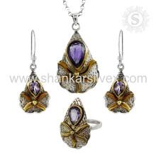 Majestic Purple Bijoux en argent faits à la main Ensemble de bijoux en améthyste Fournisseur de bijoux en argent indien