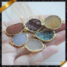 Gemstone Agate Connector Necklace with Chain, Fashion Druzy Jewelry Necklace (FN090)
