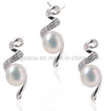 AAA Ensemble de bijoux en perles d'eau douce avec pierre de zircon cubique