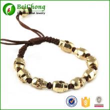 Mode du Nord Skull Bracelet corde tissé tresse alliage d'or Skull Bracelet Gourmette