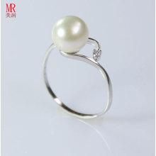 Mode 925 reiner silberner weißer Perlen-Ring (ER107)