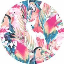 100% soft cotton porrot print design round beach towels