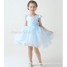 Baby Blue First Communion Dresses For Girls Cap Sleeve Ball Gown Flower Girl Dress With Big Bow