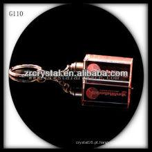 Chaveiro de cristal LED com imagem 3D gravado a laser dentro e em branco chaveiro de cristal G110
